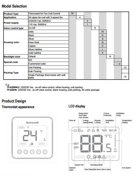ترموستات هانیول مدل TF428 Series O3