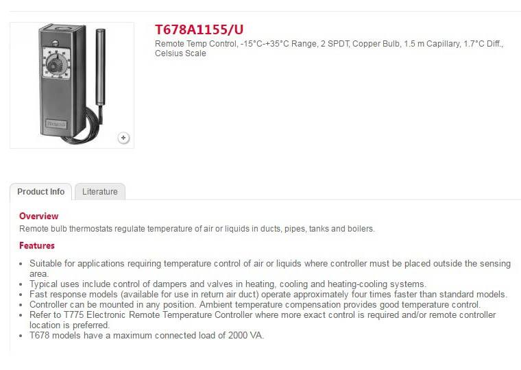 کنترلر دما دنباله دار هانیول سری T678