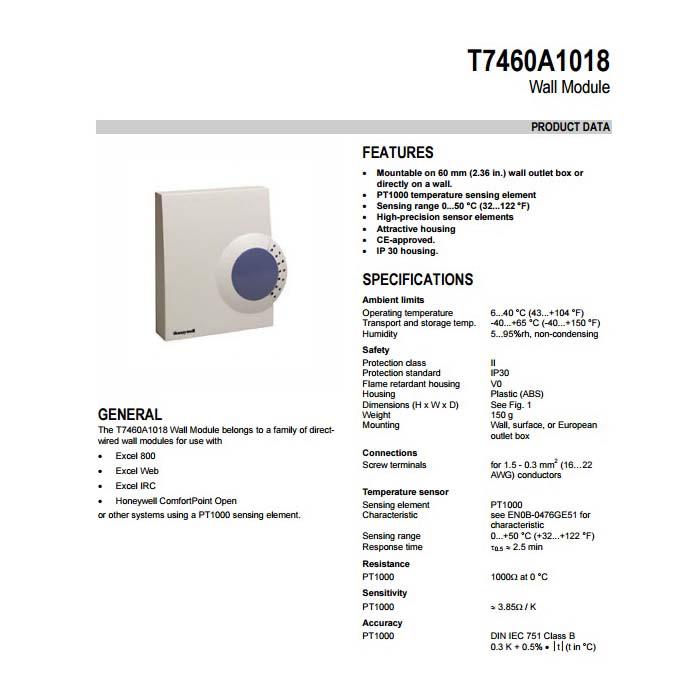 سنسور دمای اتاقی هانیول مدل T7460A1018