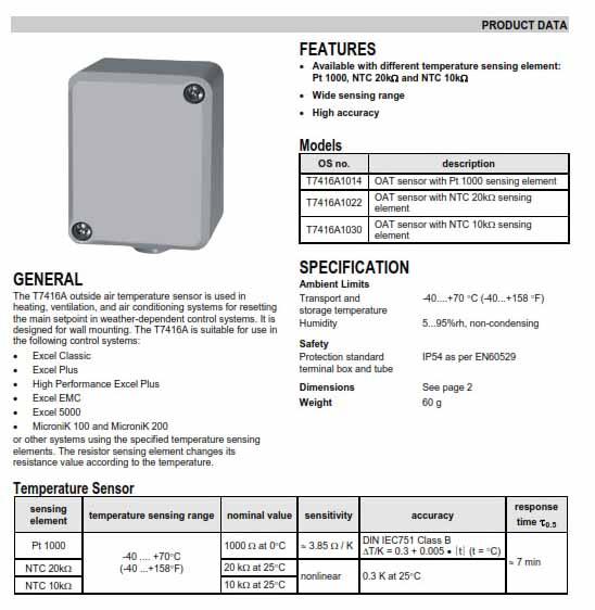 سنسور دمای هوای آزاد هانیول مدل T7416A1014
