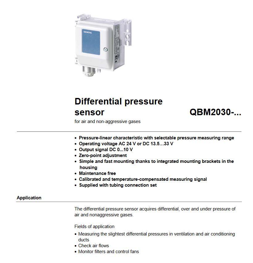 سنسور اختلاف فشار زیمنس سری QBM2030