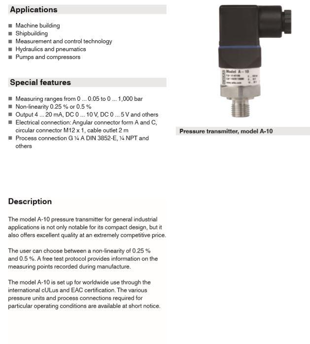 ترانسمیتر فشار (قلمی) WIKA