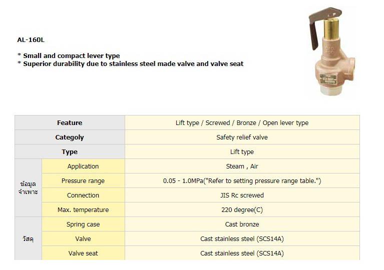 شیر اطمینان یوشیتاکه سری AL-160L